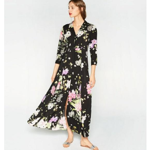 3d2631af85 ZARA Floral Maxi Dress